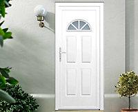 Porte d'entrée pvc Makalu Demi lune blanc 90 x h.215 cm poussant droit