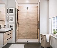 Porte de douche coulissante, 140 x 200 cm, Schulte NewStyle, verre transparent anticalcaire, profilé noir