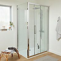 Porte de douche coulissante Cooke & Lewis Zilia transparent 120 cm