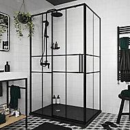 Porte de douche coulissante GoodHome Ahti transparent profilé noir 120 cm