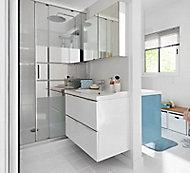 Porte de douche coulissante GoodHome Beloya miroir 140 cm