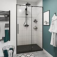Porte de douche coulissante GoodHome Ezili transparent profilé noir 100 cm