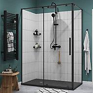 Porte de douche coulissante GoodHome Ezili transparent profilé noir 140 cm