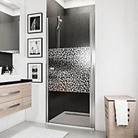 Porte de douche pivotante, 80 x 192 cm, Schulte NewStyle, verre transparent anticalcaire, Galets chromés