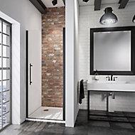 Porte de douche pivotante, 80 x 192 cm, Schulte NewStyle, verre transparent anticalcaire, profilé noir