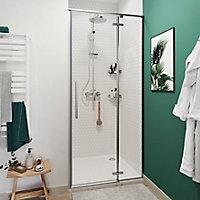 Porte de douche pivotante GoodHome Ezili transparent alu brossé 90 cm