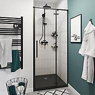 Porte de douche pivotante GoodHome Ezili transparent profilé noir 90 cm