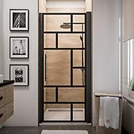 Porte de douche pivotante Schulte Atelier transparent profilé noir 90 cm
