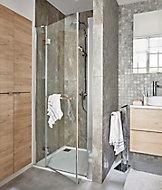 Porte de douche semi pivotante GoodHome Naya transparent 90 cm