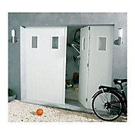 Porte de garage 4 vantaux PVC hublots Helsinki - L.240 x h.200 cm (en kit)
