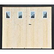 Porte de garage 4 vantaux sapin hublots - L.240 x h.200 cm (en kit)