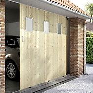 Porte de garage coulissante sapin hublots - L.240 x h.200 cm (en kit)