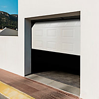 Porte de garage sectionnelle à cassettes GoodHome blanc - L.240 x h.200 cm - motorisée (en kit)