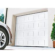 Porte de garage sectionnelle à cassettes Turia blanc - L.240 x h.200 cm - motorisée (en kit)