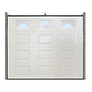 Porte de garage sectionnelle GoodHome blanc à K7 avec hublots - L.240 x h.200 cm - motorisée (en kit)