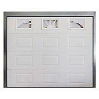Porte de garage sectionnelle hublots Madrid blanche - L.240 x h.200 cm (pré-montée)