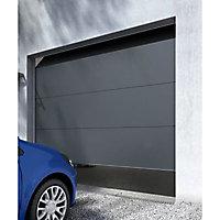 Porte de garage sectionnelle Londres grise - L.240 x h.200 cm (pré-montée)