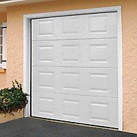 Porte de garage sectionnelle motorisée à cassettes Paris blanche - L.240 x h.200 cm (pré-montée)