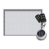 Porte de garage sectionnelle Paris K7 blanc - L.240 x h.200 cm - avec clavier à code (pré-montée)