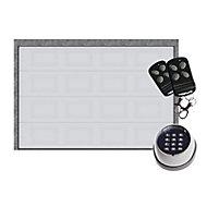 Porte de garage sectionnelle Paris K7 blanc - L.300 x h.200 cm - avec clavier à code (pré-montée)
