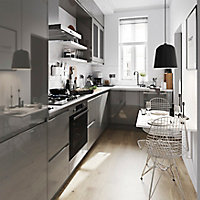 Porte de meuble de cuisine GoodHome Garcinia anthracite brillant l. 14.7 cm x H. 71.5 cm
