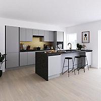 Porte de meuble de cuisine GoodHome Stevia gris mat l. 39,7 x H. 71,5 cm