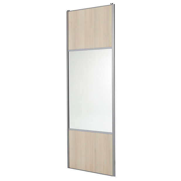 Porte De Placard Coulissante Miroir Decor Chene Clair Form Valla 92 2 X 250 Cm Castorama