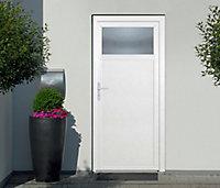 Porte de service 1/4 vitrée PVC 90 x h.200 cm poussant droit