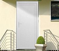 Porte de service pleine PVC 90 x h.205 cm poussant droit