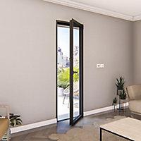 Porte fenêtre alu 1 vantail GoodHome gris - l.80 x h.205 cm, tirant droit