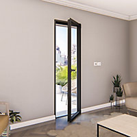Porte fenêtre alu 1 vantail GoodHome gris - l.80 x h.205 cm, tirant gauche