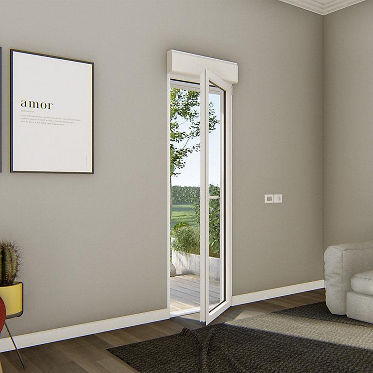 porte fenêtre alu 1 vantail  volet roulant électrique