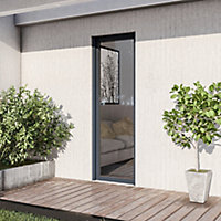 Porte fenêtre alu 1 vantail + volet roulant électrique GoodHome gris - l.80 x h.215 cm, tirant droit