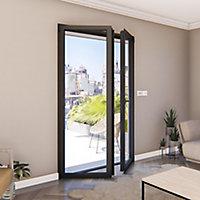 Porte fenêtre alu 2 vantaux GoodHome gris - l.140 x h.215 cm, tirant droit