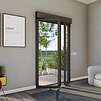 Porte fenêtre alu 2 vantaux + volet roulant électrique GoodHome gris - l.140 x h.215 cm, tirant droit
