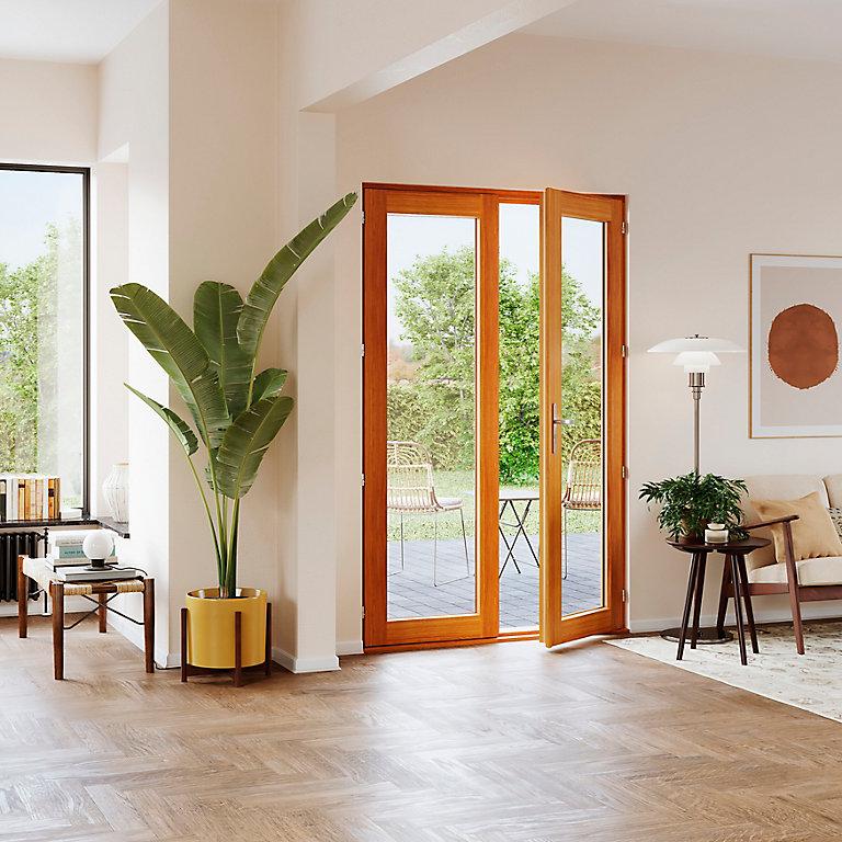 porte fenêtre bois 2 vantaux goodhome  l120 x h215 cm