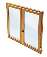 Porte fenêtre bois 2 vantaux tirant droit 120 x h.215 cm Uw 1,6