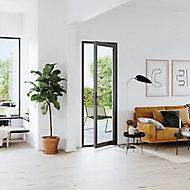 Porte fenêtre PVC 1 vantail tirant GoodHome gris - l.80 x h.205 cm, tirant droit