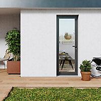 Porte fenêtre PVC 1 vantail tirant GoodHome gris - l.80 x h.205 cm, tirant gauche