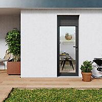 Porte fenêtre PVC 1 vantail tirant + volet roulant électrique GoodHome gris - l.80 x h.215 cm, tirant gauche