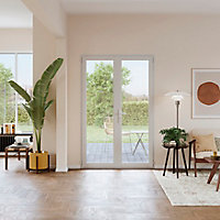 Porte fenêtre PVC 2 vantaux GoodHome blanc - 100 x h.205 cm, tirant droit