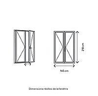 Porte fenêtre PVC 2 vantaux GoodHome blanc - l.140 x h.215 cm, tirant droit