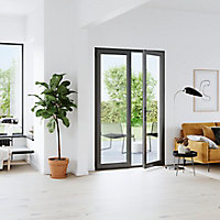 Porte fenêtre PVC 2 vantaux GoodHome gris - l.140 x h.215 cm, tirant droit
