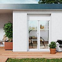 Porte fenêtre PVC 2 vantaux tirant + volet roulant électrique GoodHome blanc - l.140 x h.215 cm, tirant droit