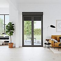 Porte fenêtre PVC 2 vantaux tirant + volet roulant électrique GoodHome gris - l.140 x h.215 cm, tirant droit