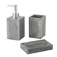 Porte savon glitter résine gris pailletté Cooke & Lewis Ice