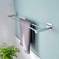 Porte-serviettes 2barres Koros acier chromé GoodHome 60 cm
