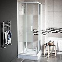 Portes de douche angle droit Cooke & Lewis Onega sérigraphié 70 x 70 cm