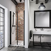Portes de douche battantes, 70 x 192 cm, Schulte NewStyle, verre transparent anticalcaire, profilé noir