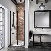 Portes de douche battantes, 90 x 192 cm, Schulte NewStyle, verre transparent anticalcaire, profilé noir